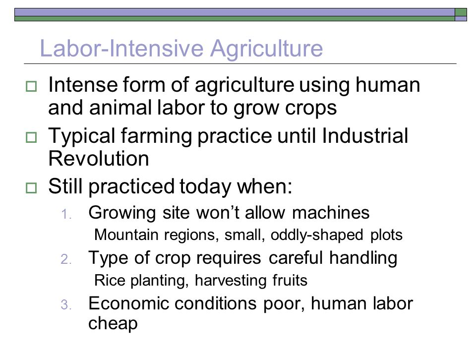 Labor-Intensive Agriculture  Intense form of agriculture using human and animal labor to grow crops  Typical farming practice until Industrial Revolution  Still practiced today when: 1.