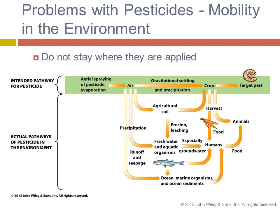 Problems with Pesticides - Mobility in the Environment  Do not stay where they are applied © 2012 John Wiley & Sons, Inc.