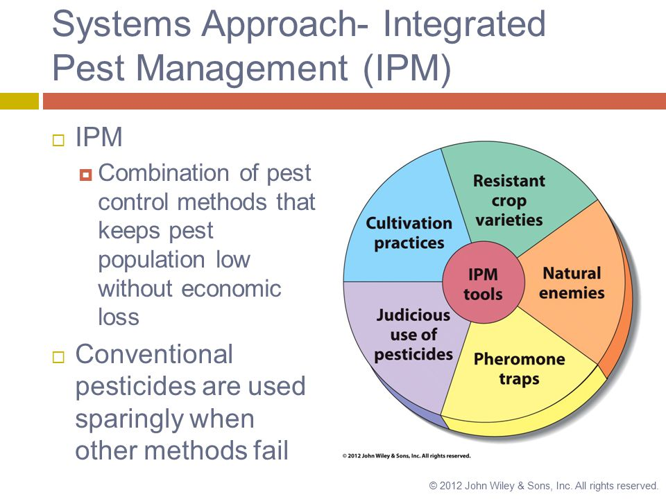Systems Approach- Integrated Pest Management (IPM)  IPM  Combination of pest control methods that keeps pest population low without economic loss  Conventional pesticides are used sparingly when other methods fail © 2012 John Wiley & Sons, Inc.