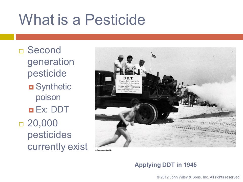 What is a Pesticide  Second generation pesticide  Synthetic poison  Ex: DDT  20,000 pesticides currently exist Applying DDT in 1945 © 2012 John Wiley & Sons, Inc.