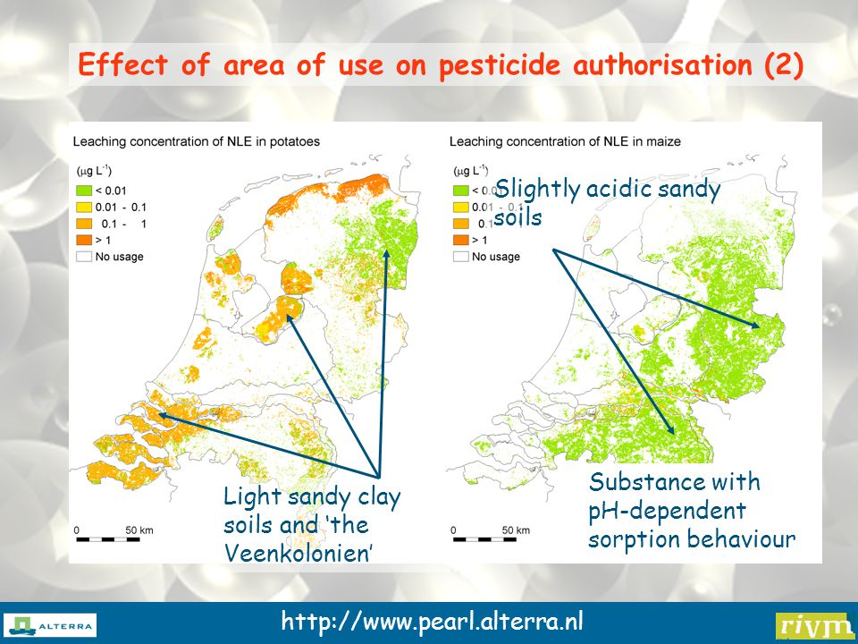 http://www.pearl.alterra.nl Effect of area of use on pesticide authorisation (2) Substance with pH-dependent sorption behaviour Light sandy clay soils and 'the Veenkolonien' Slightly acidic sandy soils