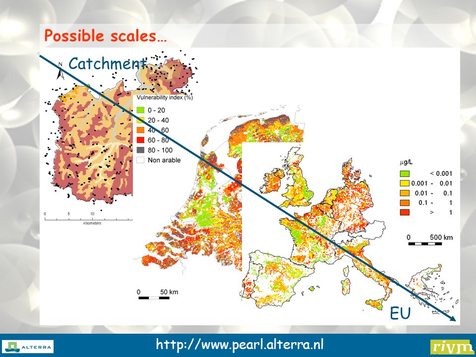 http://www.pearl.alterra.nl Possible scales… Catchment EU