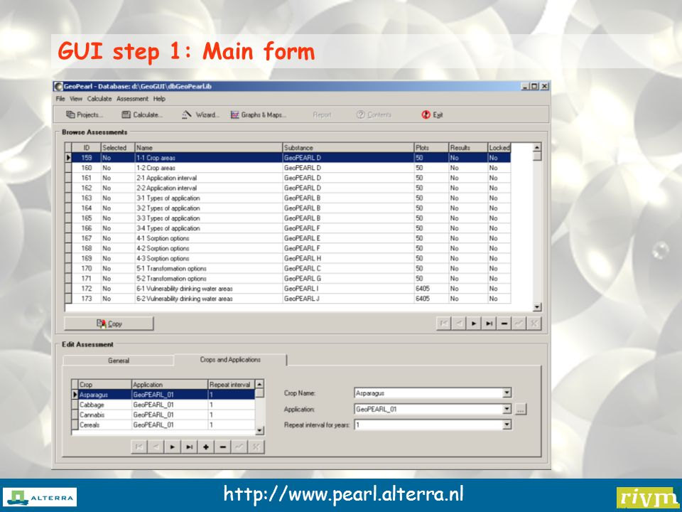 http://www.pearl.alterra.nl GUI step 1: Main form