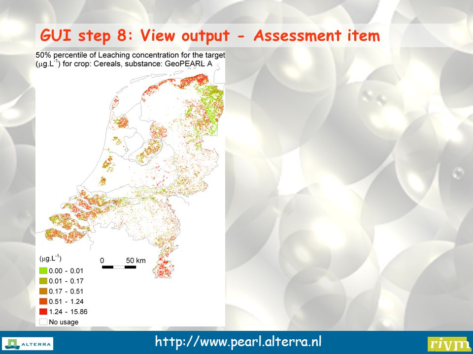 http://www.pearl.alterra.nl GUI step 8: View output - Assessment item
