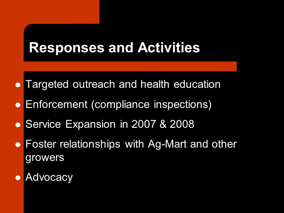 Responses and Activities Targeted outreach and health education Enforcement (compliance inspections) Service Expansion in 2007 & 2008 Foster relationships with Ag-Mart and other growers Advocacy