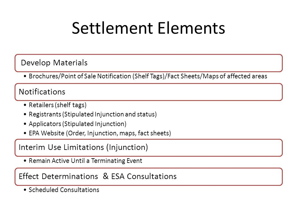Settlement Elements Develop Materials Brochures/Point of Sale Notification (Shelf Tags)/Fact Sheets/Maps of affected areas Notifications Retailers (shelf tags) Registrants (Stipulated Injunction and status) Applicators (Stipulated Injunction) EPA Website (Order, Injunction, maps, fact sheets) Interim Use Limitations (Injunction) Remain Active Until a Terminating Event Effect Determinations & ESA Consultations Scheduled Consultations