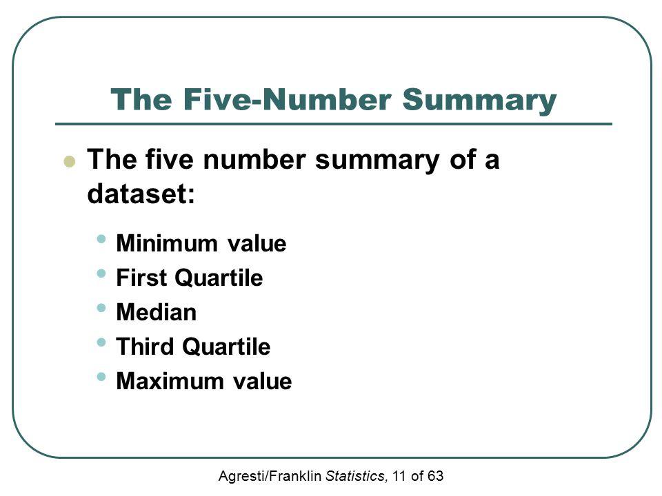 Agresti/Franklin Statistics, 11 of 63 The Five-Number Summary The five number summary of a dataset: Minimum value First Quartile Median Third Quartile