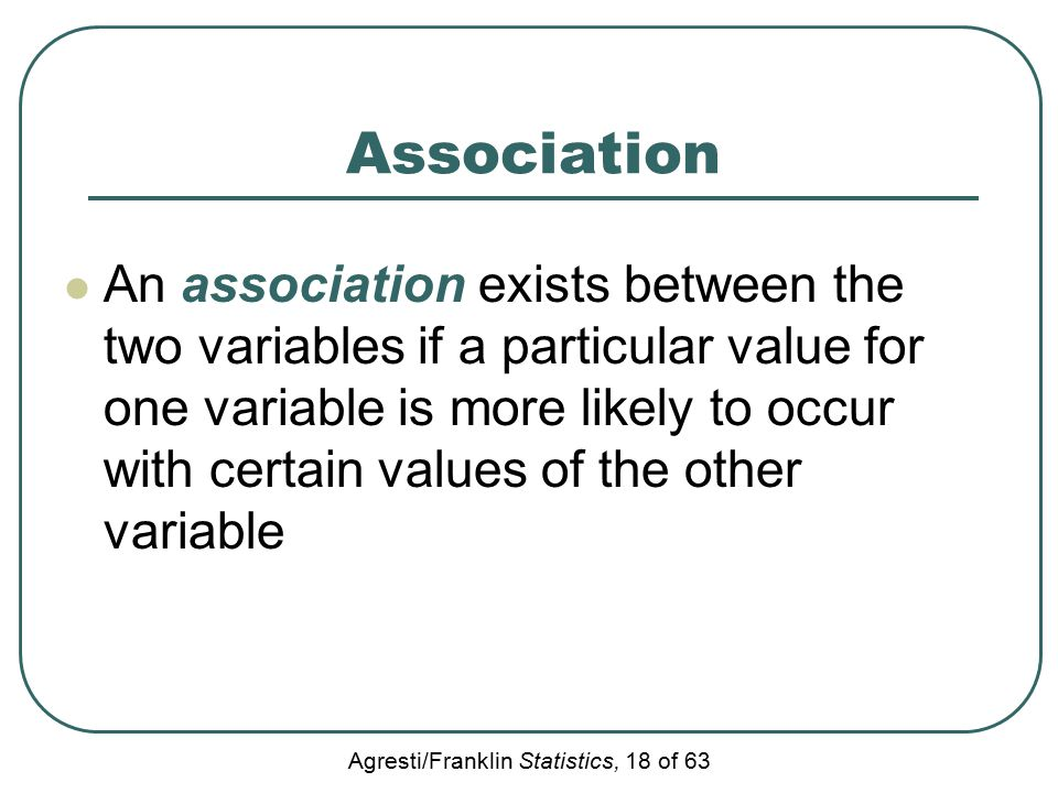 Agresti/Franklin Statistics, 18 of 63 Association An association exists between the two variables if a particular value for one variable is more likel