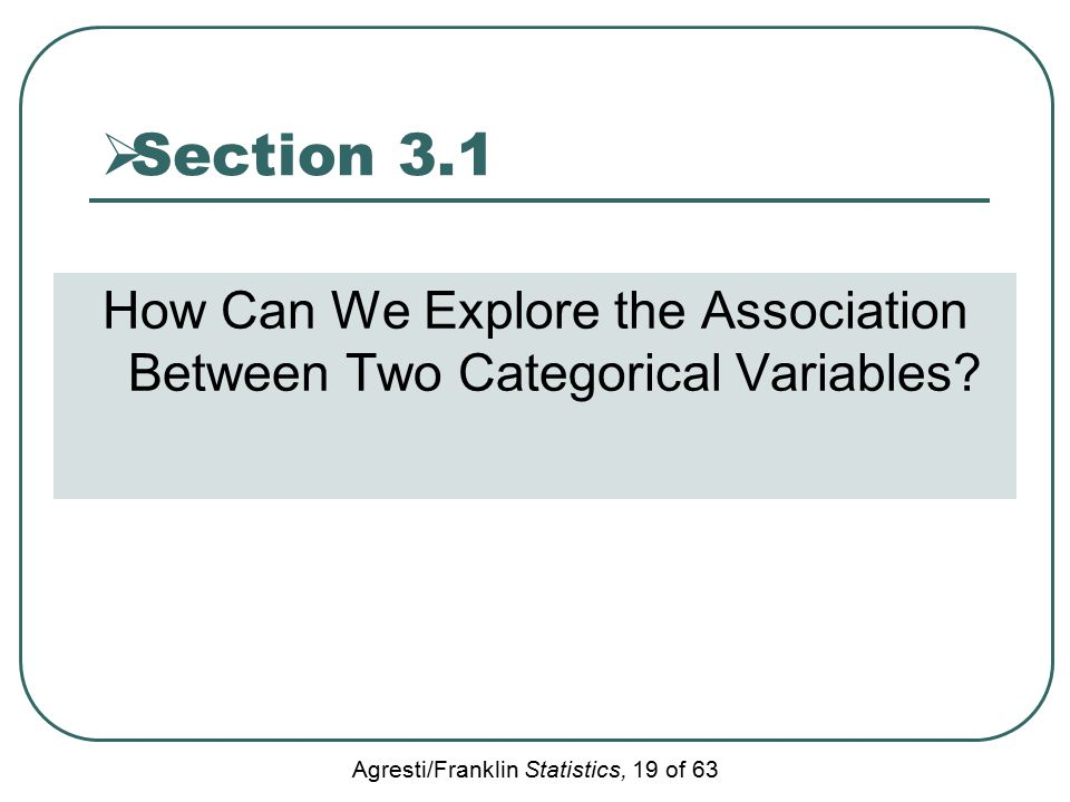 Agresti/Franklin Statistics, 19 of 63  Section 3.1 How Can We Explore the Association Between Two Categorical Variables?