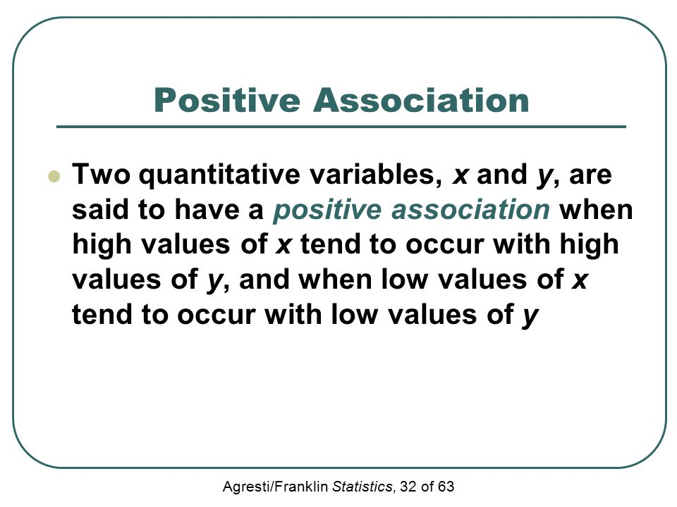 Agresti/Franklin Statistics, 32 of 63 Positive Association Two quantitative variables, x and y, are said to have a positive association when high values of x tend to occur with high values of y, and when low values of x tend to occur with low values of y