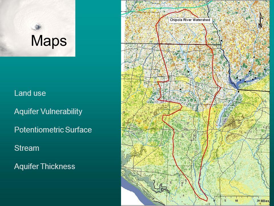 Land use Aquifer Vulnerability Potentiometric Surface Stream Aquifer Thickness Maps