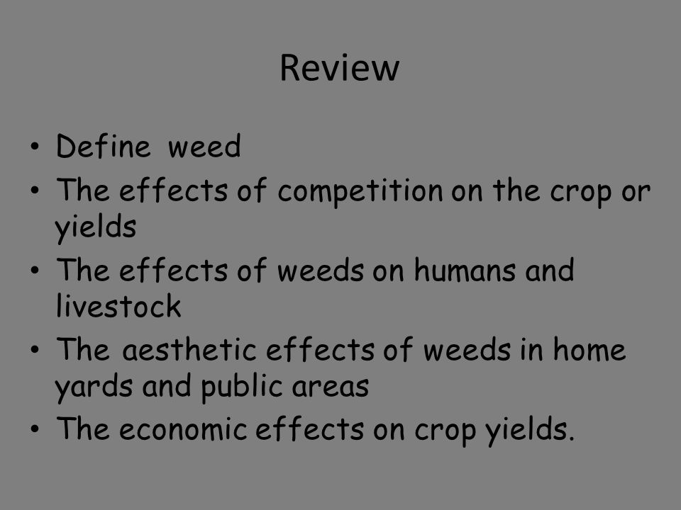 Review Define weed The effects of competition on the crop or yields The effects of weeds on humans and livestock The aesthetic effects of weeds in hom