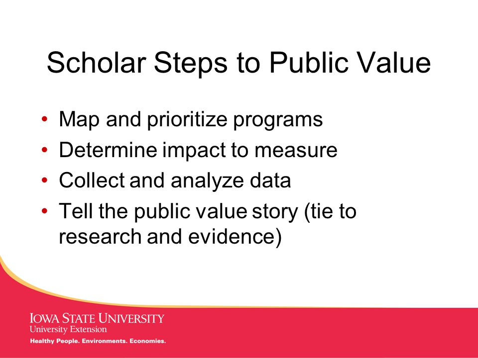 MANAGING Tough Times Scholar Steps to Public Value Map and prioritize programs Determine impact to measure Collect and analyze data Tell the public value story (tie to research and evidence)