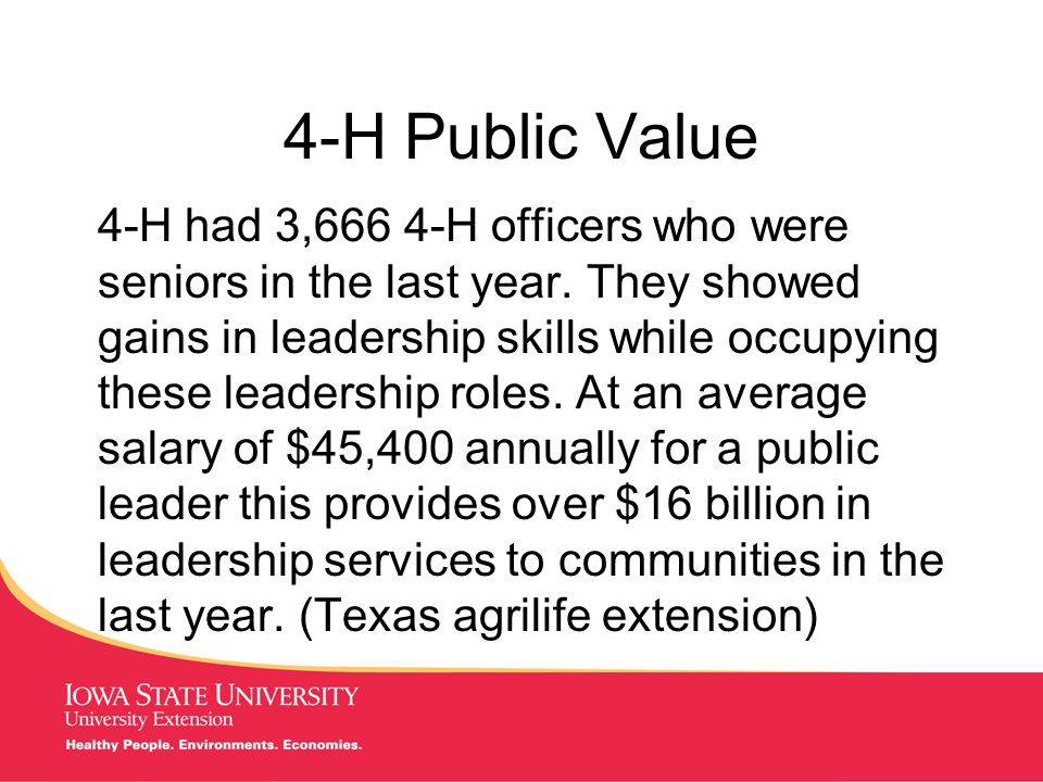 MANAGING Tough Times 4-H Public Value 4-H had 3,666 4-H officers who were seniors in the last year.