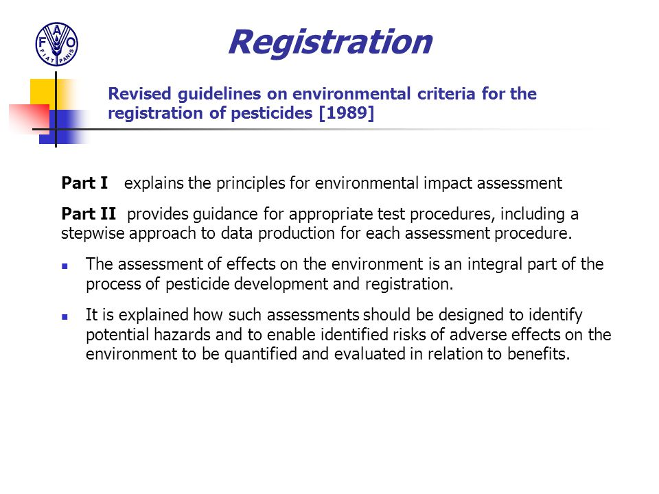 Part I explains the principles for environmental impact assessment Part II provides guidance for appropriate test procedures, including a stepwise app