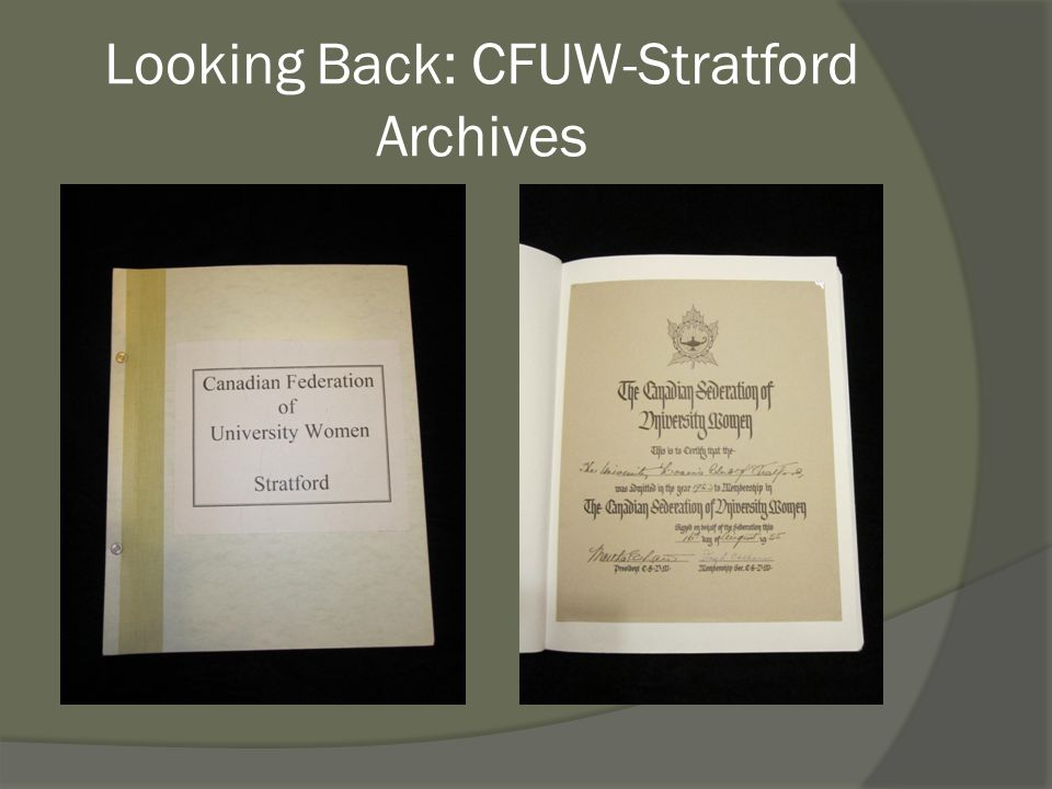 Looking Back: CFUW-Stratford Archives