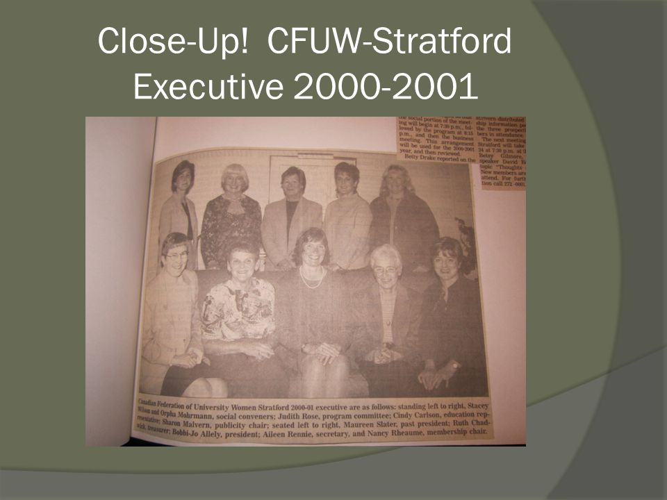 Close-Up! CFUW-Stratford Executive 2000-2001