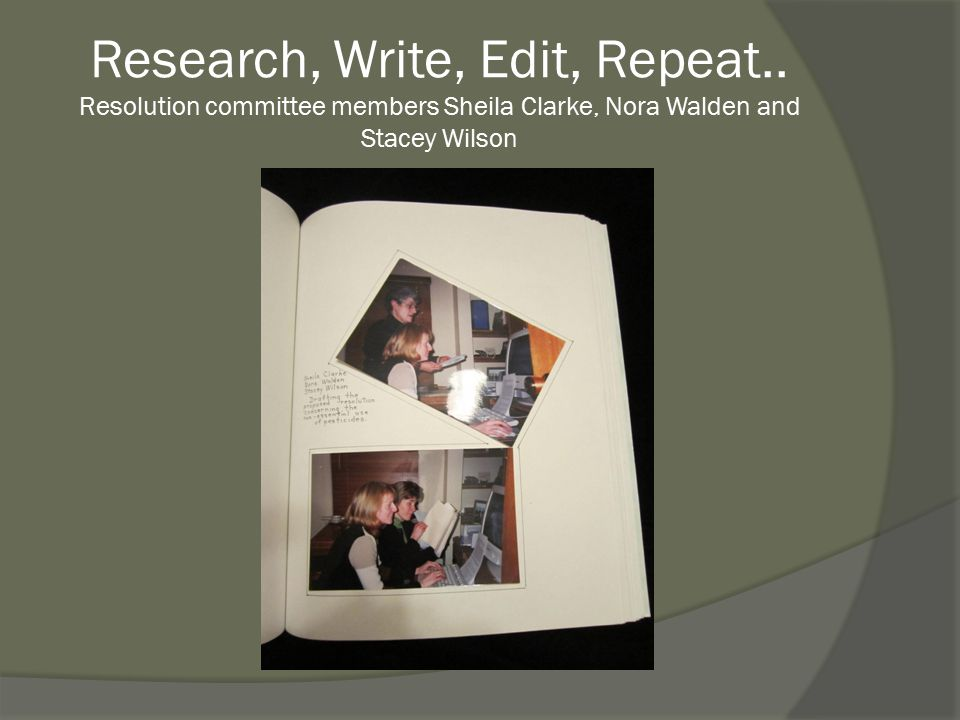 Research, Write, Edit, Repeat.. Resolution committee members Sheila Clarke, Nora Walden and Stacey Wilson
