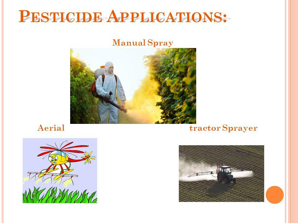 P ESTICIDE A PPLICATIONS : Manual Spray tractor SprayerAerial
