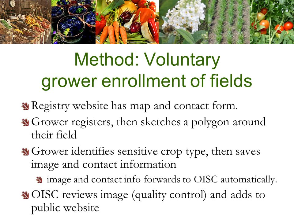 Method: Voluntary grower enrollment of fields Registry website has map and contact form.