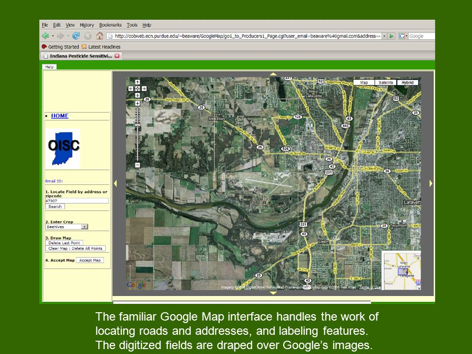 The familiar Google Map interface handles the work of locating roads and addresses, and labeling features.