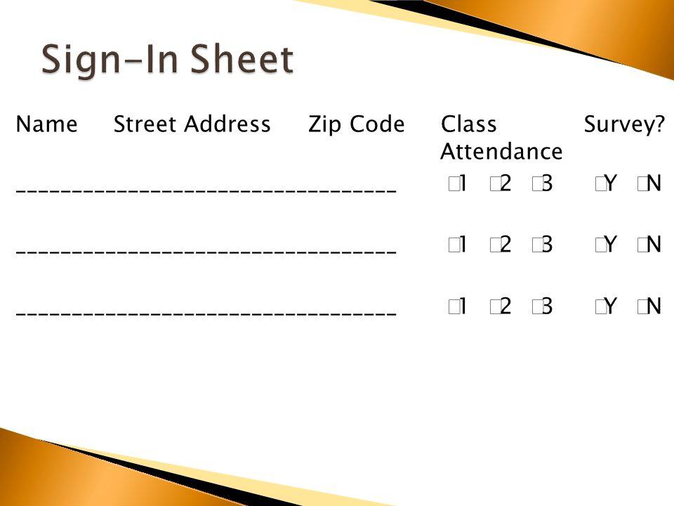 Name Street Address Zip Code Class Survey.