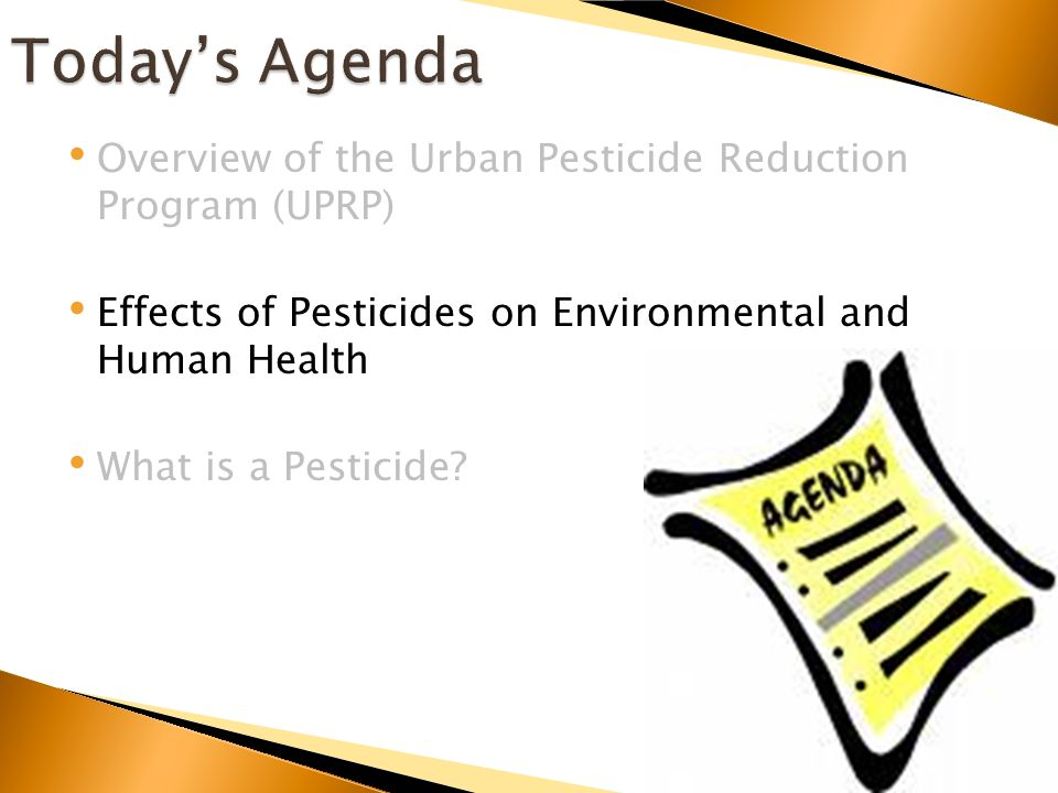 Overview of the Urban Pesticide Reduction Program (UPRP) Effects of Pesticides on Environmental and Human Health What is a Pesticide?
