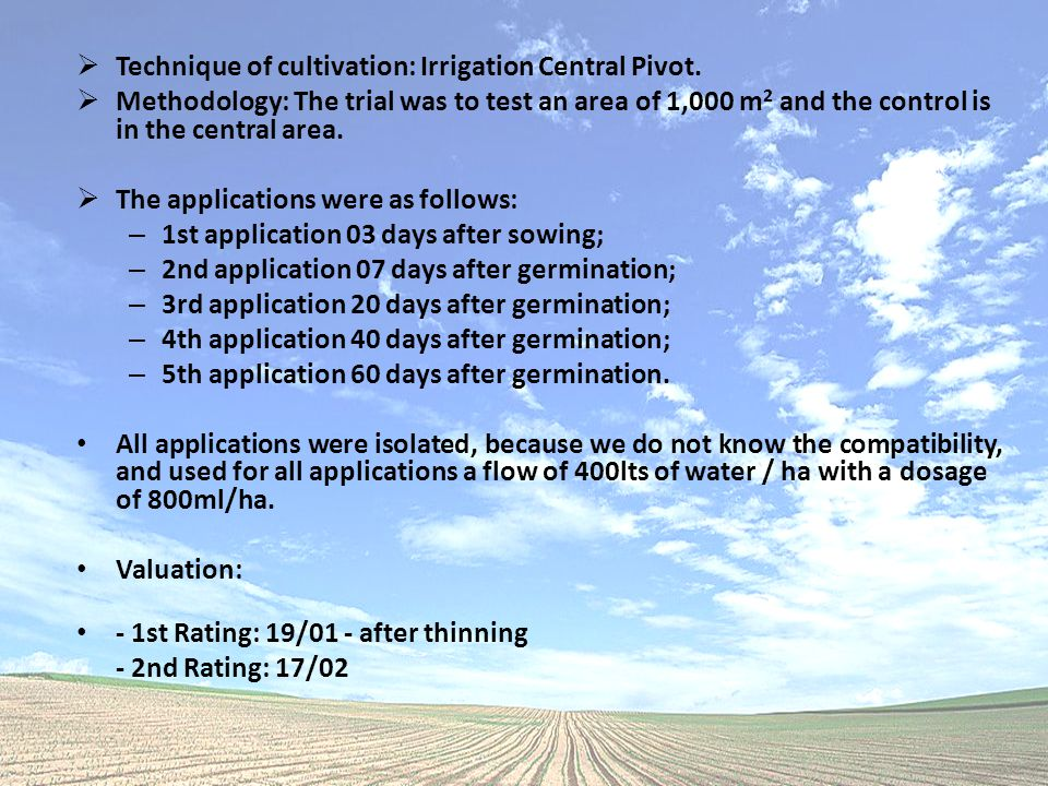  Technique of cultivation: Irrigation Central Pivot.