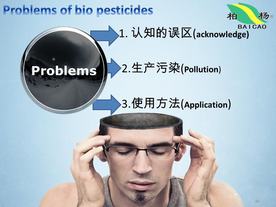 46 1. 认知的误区 ( acknowledge) 2. 生产污染 ( Pollution) 3. 使用方法 ( Application ) Problems