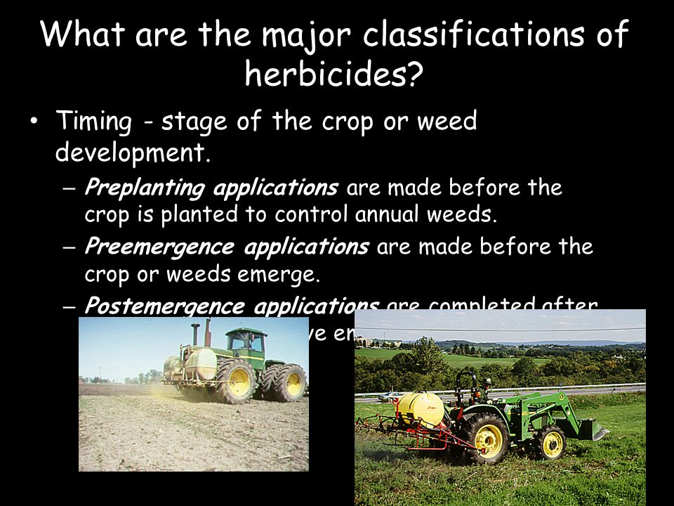 What are the major classifications of herbicides? Timing - stage of the crop or weed development. – Preplanting applications are made before the crop