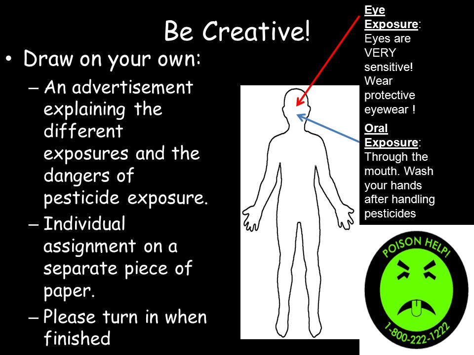 Be Creative! Draw on your own: – An advertisement explaining the different exposures and the dangers of pesticide exposure. – Individual assignment on