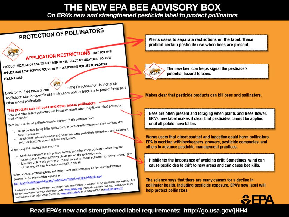 THE NEW EPA BEE ADVISORY BOX On EPA's new and strengthened pesticide label to protect pollinators APPLICATION RESTRICTIONS E XIST FOR THIS PRODUCT BECAUSE OF RISK TO BEES AND OTHER INSECT POLLINATORS.