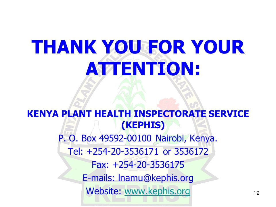 19 THANK YOU FOR YOUR ATTENTION: KENYA PLANT HEALTH INSPECTORATE SERVICE (KEPHIS) P.