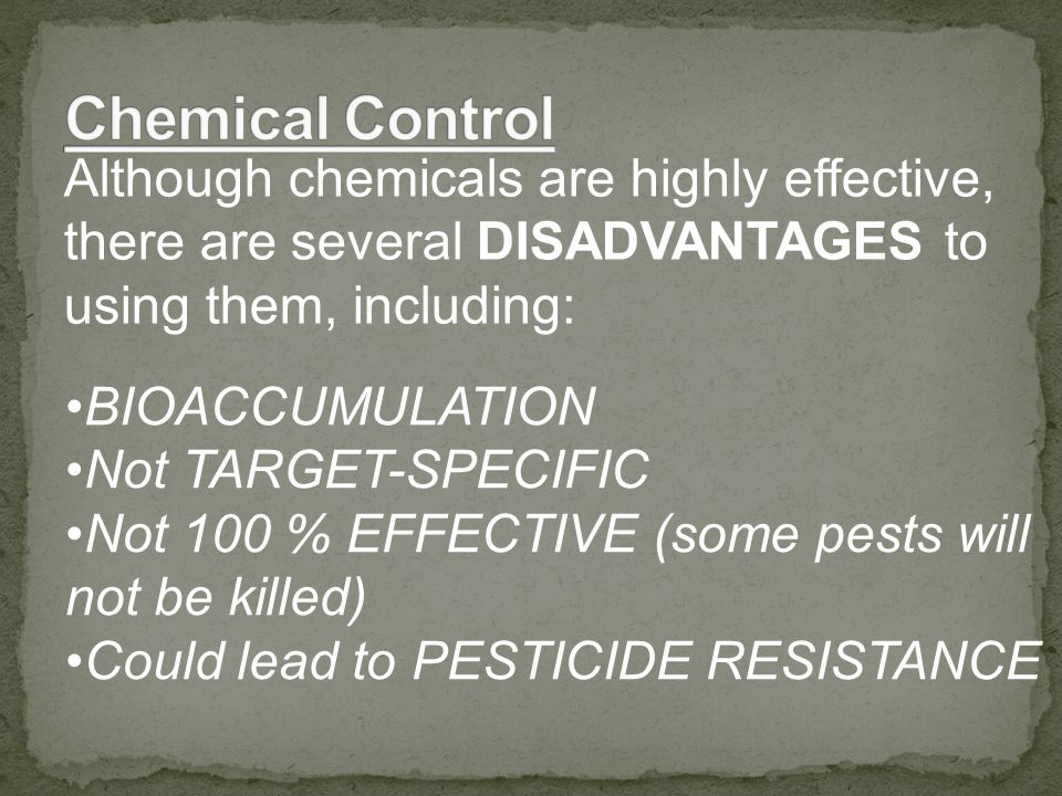 Although chemicals are highly effective, there are several DISADVANTAGES to using them, including: BIOACCUMULATION Not TARGET-SPECIFIC Not 100 % EFFECTIVE (some pests will not be killed) Could lead to PESTICIDE RESISTANCE