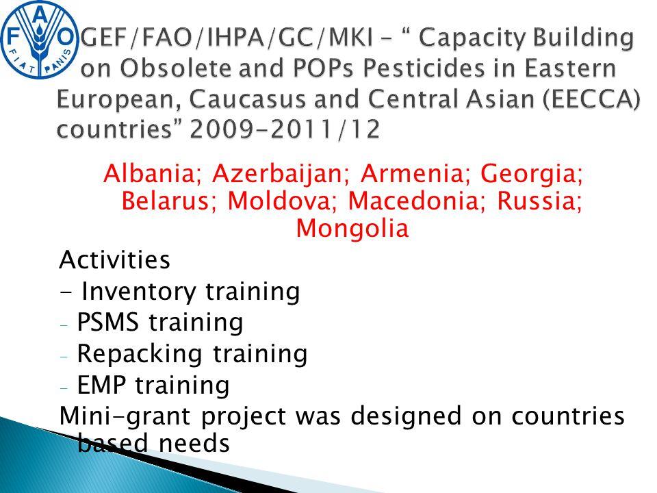 Albania; Azerbaijan; Armenia; Georgia; Belarus; Moldova; Macedonia; Russia; Mongolia Activities - Inventory training - PSMS training - Repacking training - EMP training Mini-grant project was designed on countries based needs