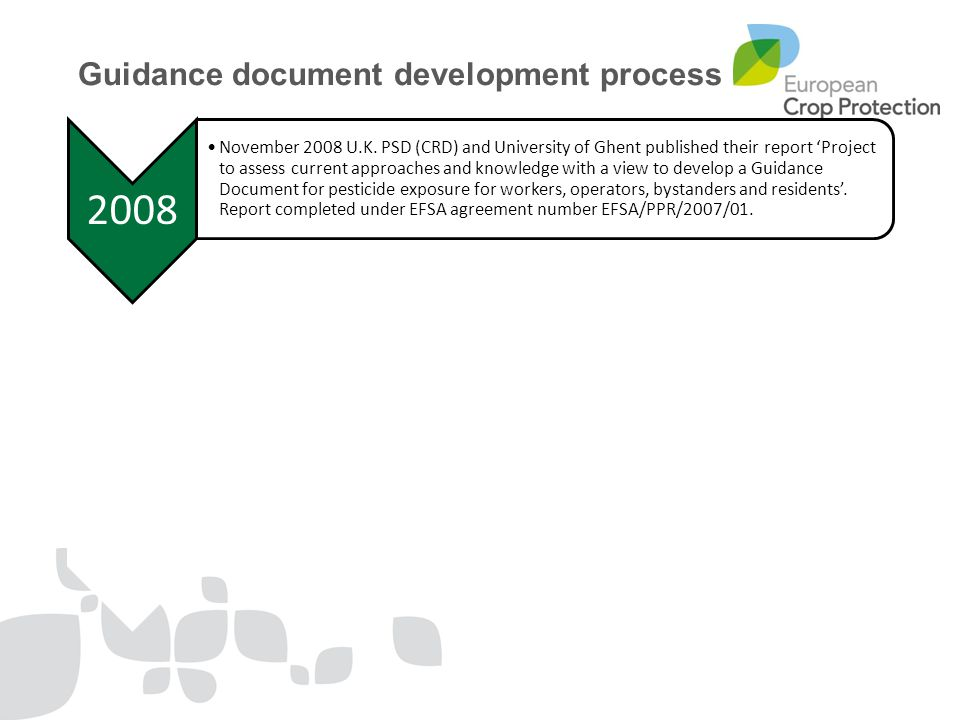 2008 November 2008 U.K. PSD (CRD) and University of Ghent published their report 'Project to assess current approaches and knowledge with a view to de