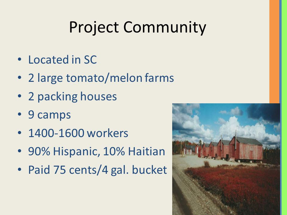 Project Community Located in SC 2 large tomato/melon farms 2 packing houses 9 camps 1400-1600 workers 90% Hispanic, 10% Haitian Paid 75 cents/4 gal.