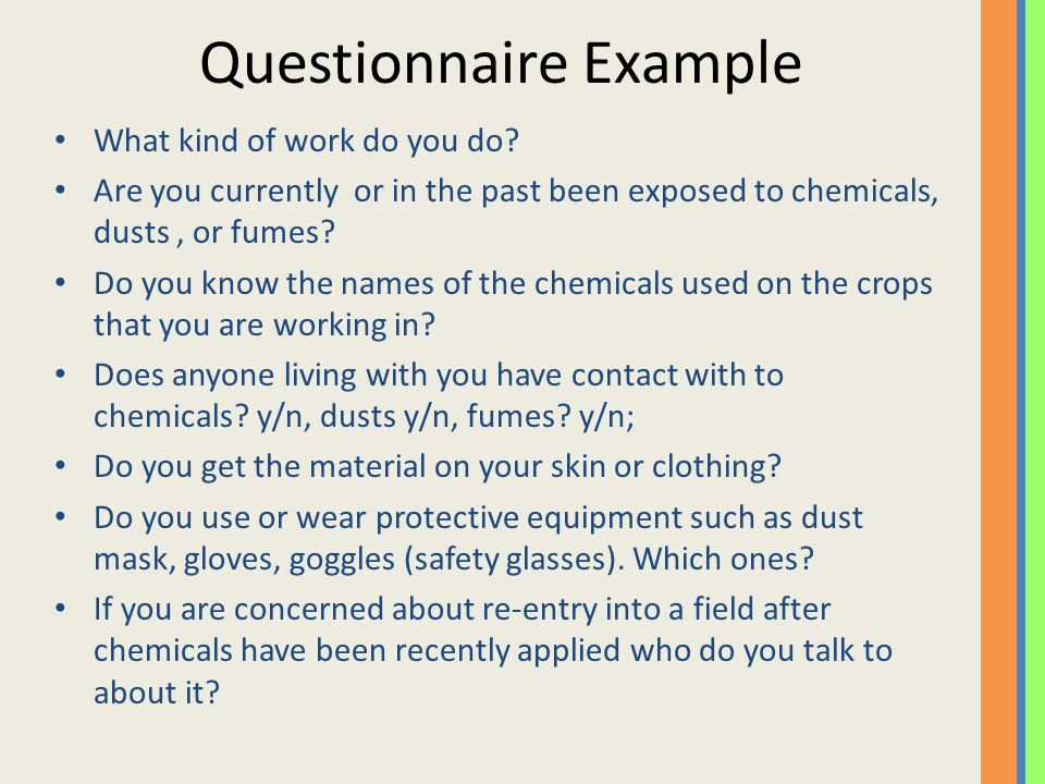 Questionnaire Example What kind of work do you do.