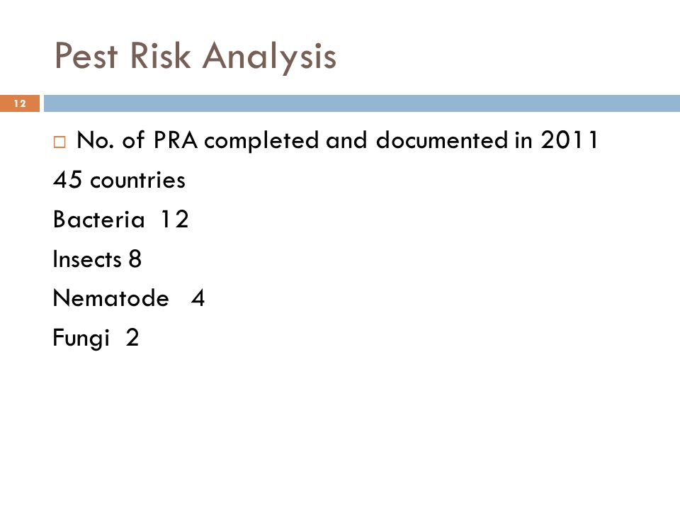 Pest Risk Analysis 12  No. of PRA completed and documented in 2011 45 countries Bacteria 12 Insects 8 Nematode 4 Fungi 2