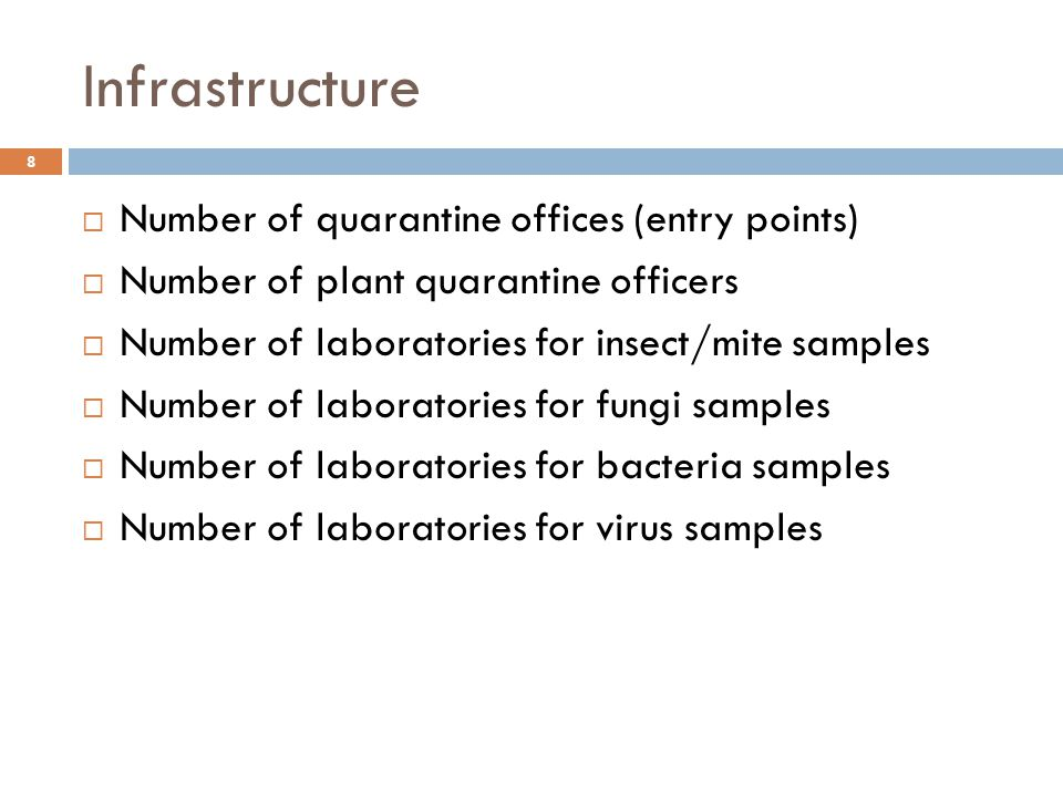 Infrastructure 8  Number of quarantine offices (entry points)  Number of plant quarantine officers  Number of laboratories for insect/mite samples  Number of laboratories for fungi samples  Number of laboratories for bacteria samples  Number of laboratories for virus samples