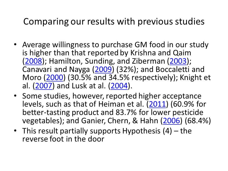 Comparing our results with previous studies Average willingness to purchase GM food in our study is higher than that reported by Krishna and Qaim (2008); Hamilton, Sunding, and Ziberman (2003); Canavari and Nayga (2009) (32%); and Boccaletti and Moro (2000) (30.5% and 34.5% respectively); Knight et al.