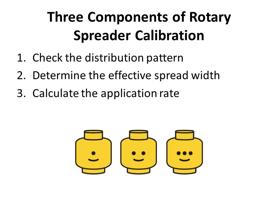 Three Components of Rotary Spreader Calibration 1.Check the distribution pattern 2.Determine the effective spread width 3.Calculate the application rate