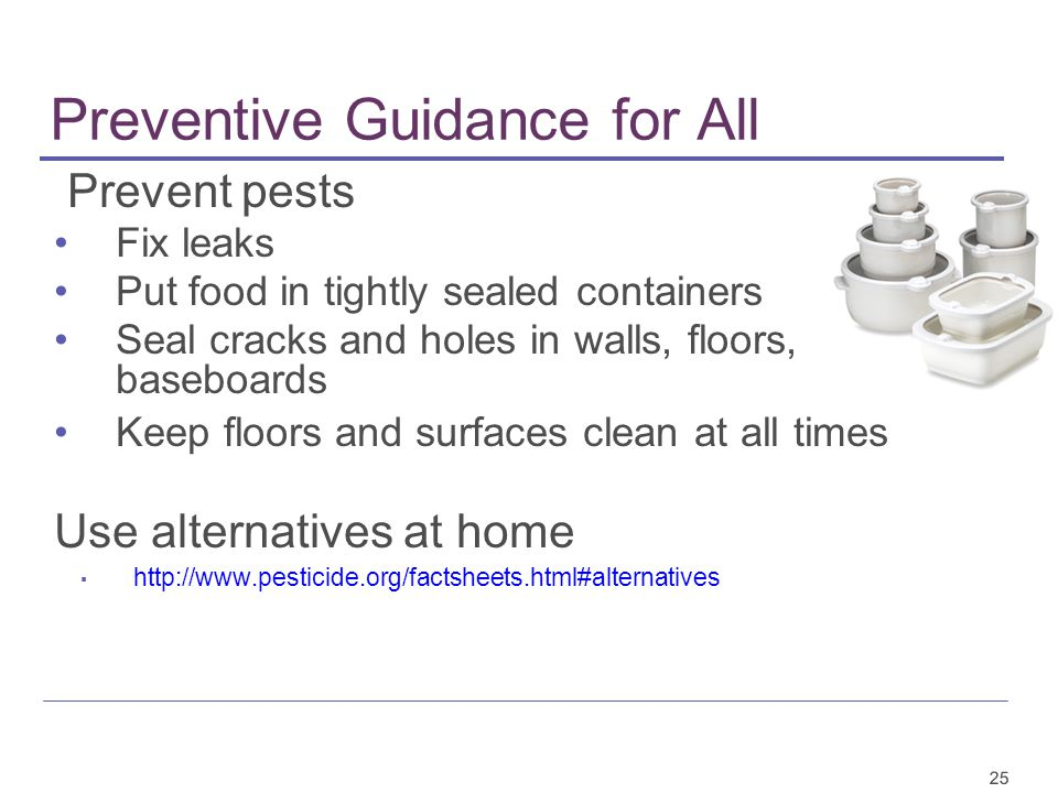 25 Preventive Guidance for All Prevent pests Fix leaks Put food in tightly sealed containers Seal cracks and holes in walls, floors, baseboards Keep floors and surfaces clean at all times Use alternatives at home ▪ http://www.pesticide.org/factsheets.html#alternatives