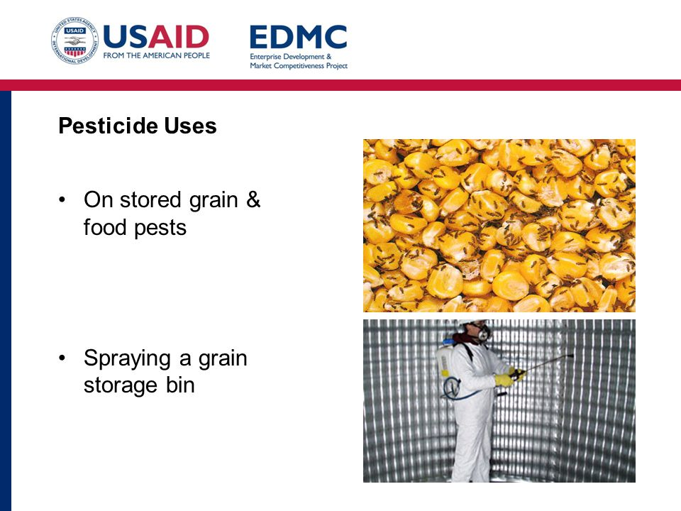 Pesticide Uses On stored grain & food pests Spraying a grain storage bin