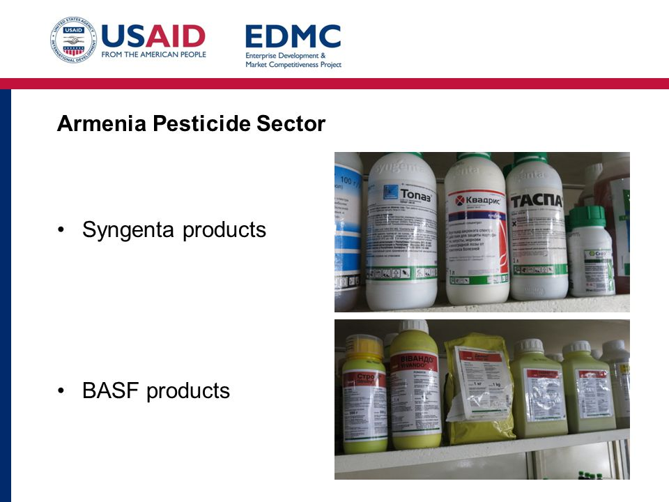 Armenia Pesticide Sector Syngenta products BASF products