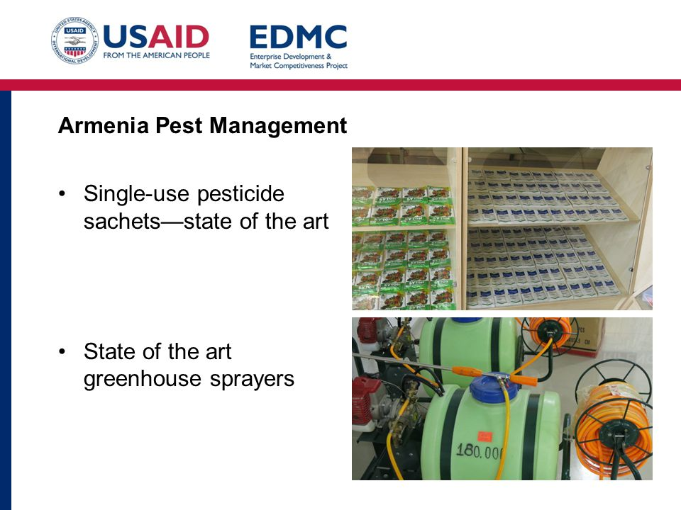 Armenia Pest Management Single-use pesticide sachets—state of the art State of the art greenhouse sprayers