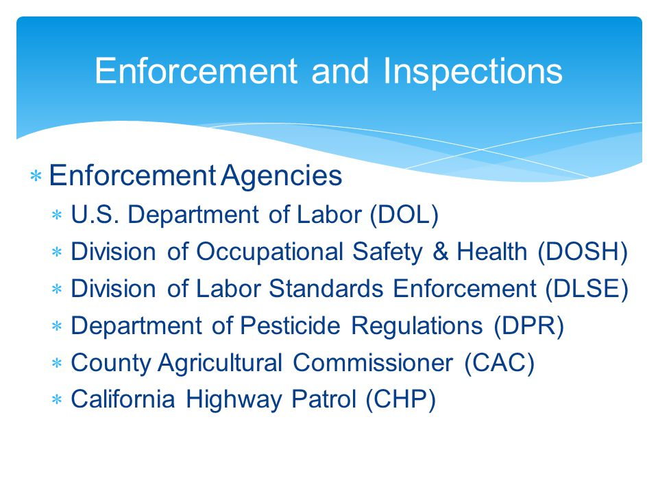 Enforcement and Inspections  Enforcement Agencies  U.S.