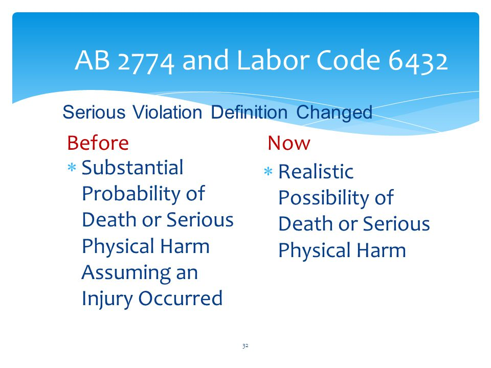 AB 2774 and Labor Code 6432  Substantial Probability of Death or Serious Physical Harm Assuming an Injury Occurred  Realistic Possibility of Death or Serious Physical Harm 32 BeforeNow Serious Violation Definition Changed