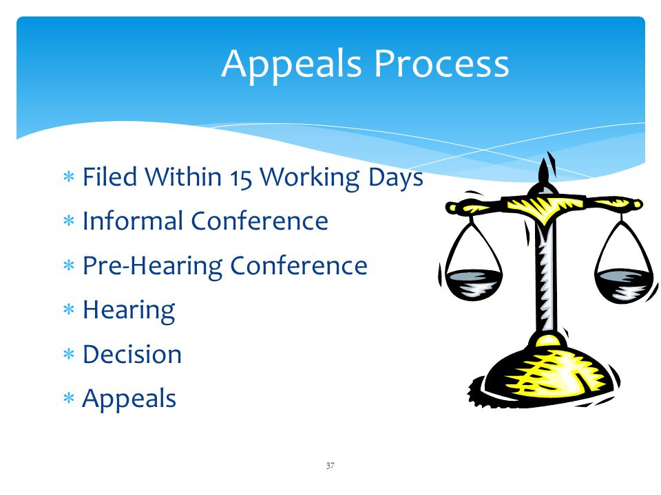 37 Appeals Process  Filed Within 15 Working Days  Informal Conference  Pre-Hearing Conference  Hearing  Decision  Appeals
