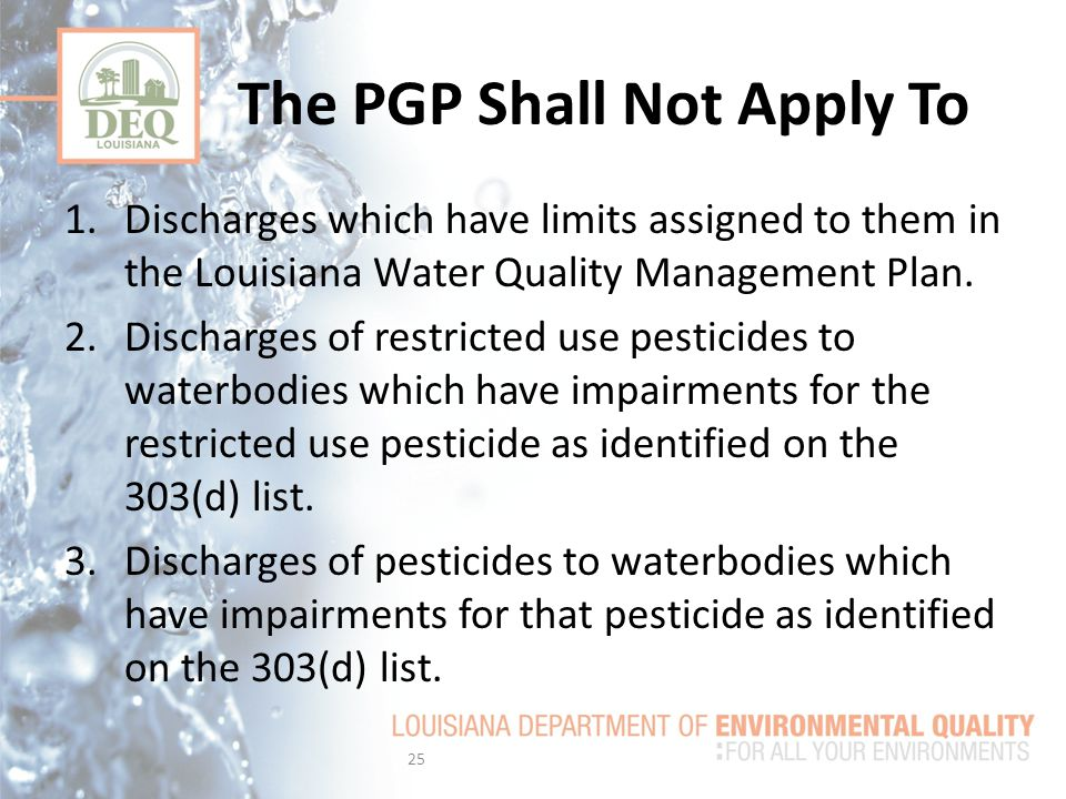 1.Discharges which have limits assigned to them in the Louisiana Water Quality Management Plan.